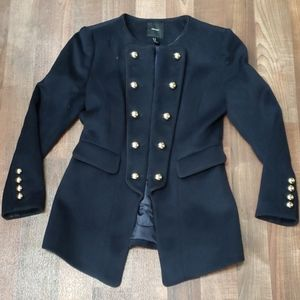 Womens Navy blue military style coat.
